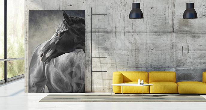 Obraz czarny koń do salonu
