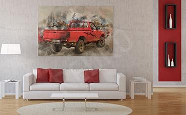 Obraz czerwone auto do salonu