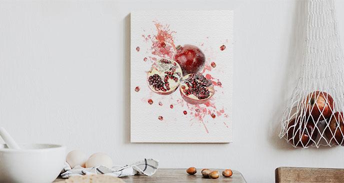 Obraz czerwone owoce granatu