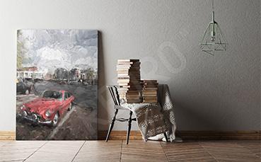 Obraz czerwony samochód