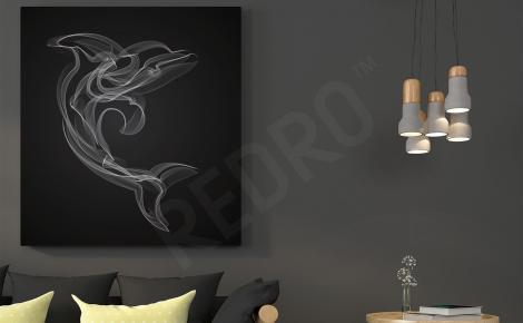Obraz delfin czarno-biały szkic