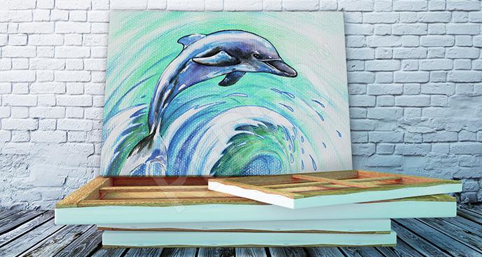 Obraz delfin i fala