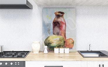 Obraz do kuchni butelka i owoce