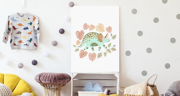 Obraz do pokoju dziecka z dinozaurem