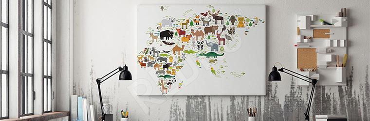 Obraz do pokoju dziecka z mapą