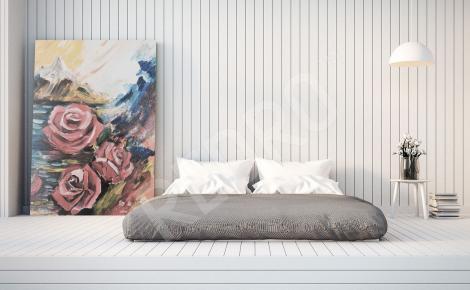 Obraz do sypialni róża malarstwo