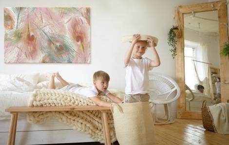 Obraz do sypialni z piórkami