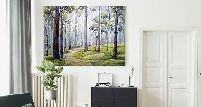 Obraz drzewa i leśna ścieżka