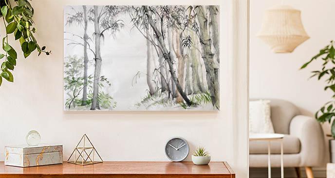 Obraz drzewa w lesie bambusowym