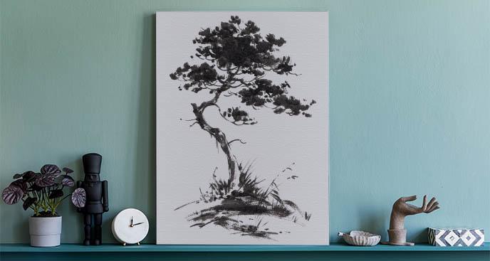 Obraz drzewo wśród traw