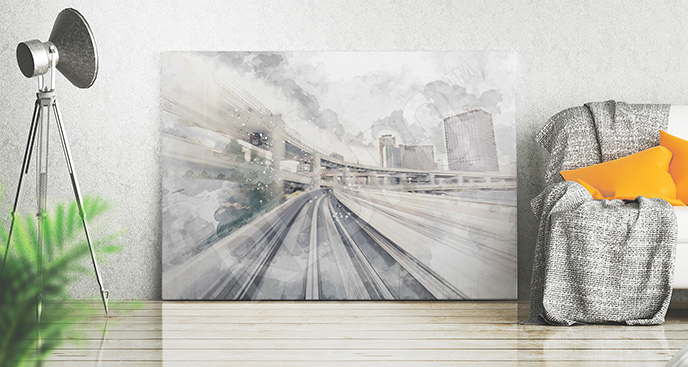 Obraz dworzec malowany akwarelą