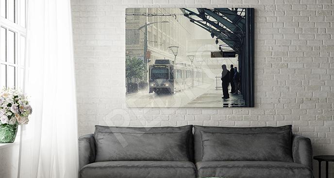 Obraz dworzec w deszczu