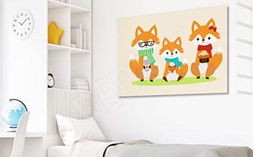 Obraz dziecięcy - trzy lisy