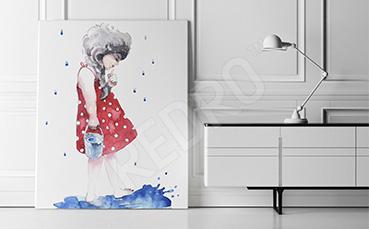 Obraz dziewczyna w czerwonej sukience