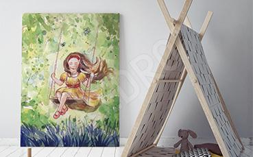 Obraz dziewczynka na huśtawce