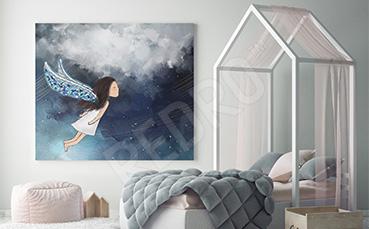 Obraz dziewczynka w chmurach