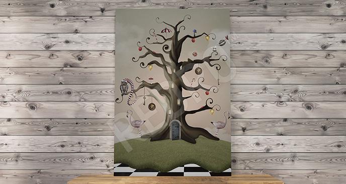 Obraz fantasy z drzewem