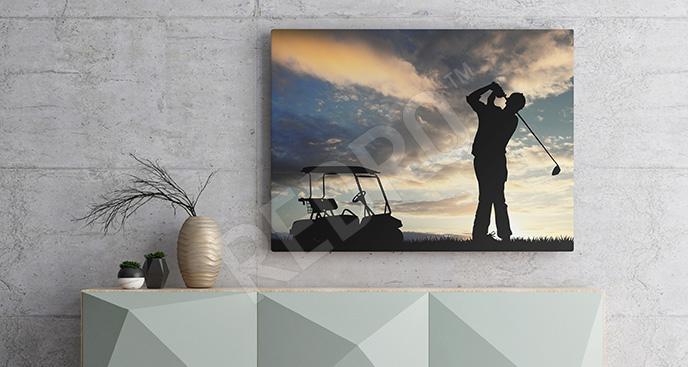 Obraz golf o zachodzie słońca