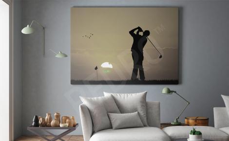 Obraz golfista i zachód słońca