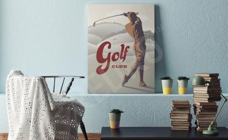 Obraz golfista styl retro