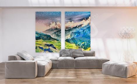 Obraz gór malarstwo do salonu