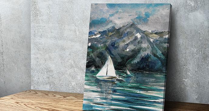 Obraz górski krajobraz ze statkiem