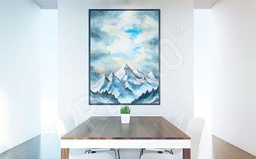 Obraz górskie szczyty akwarela