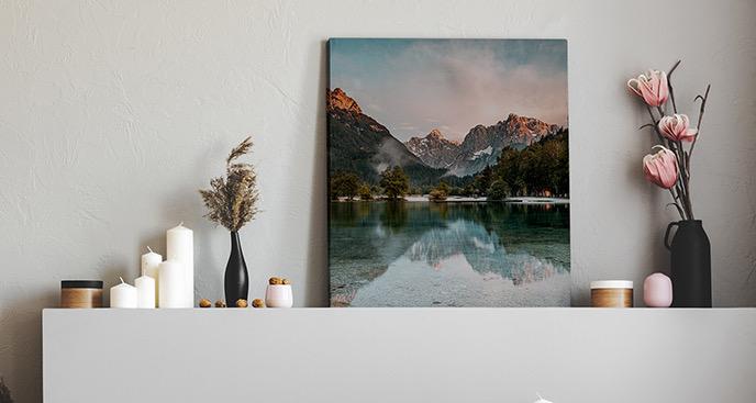 Obraz góry i jezioro