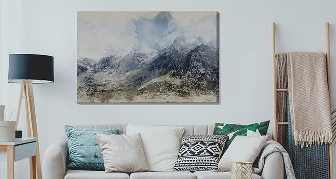Obraz szczyty we mgle