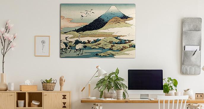 Obraz góry w stylu retro
