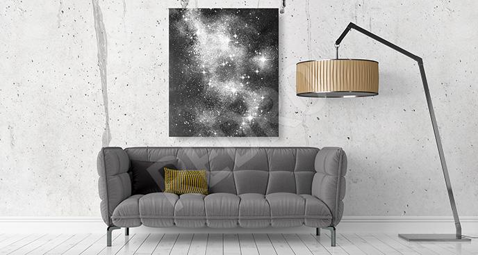 Obraz gwiazdozbiór czarno-biały