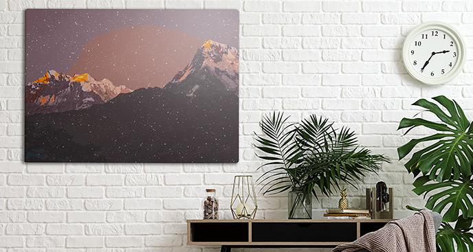Obraz gwieździste góry