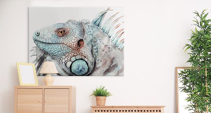 Obraz iguana w akwareli