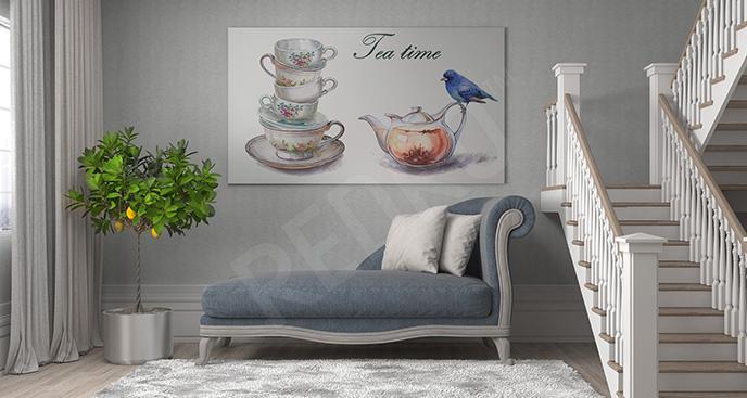 Obraz imbryczek i ptak