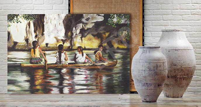 Obraz Indianki na łodzi