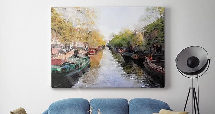 Obraz kanał w Amsterdamie