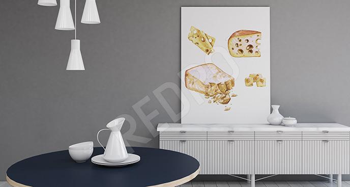 Obraz kawałki sera