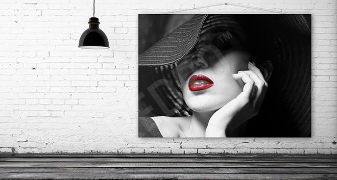 Obraz kobieta z czerwonymi ustami