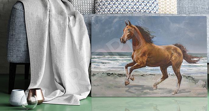Obraz koń na plaży