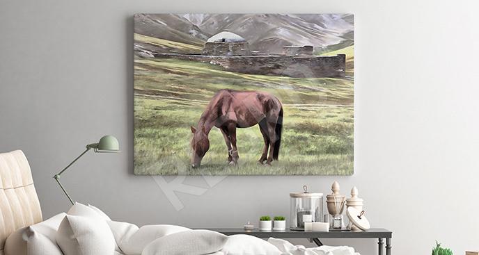 Obraz koń w górach