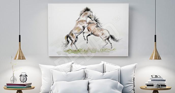 Obraz konie na polanie