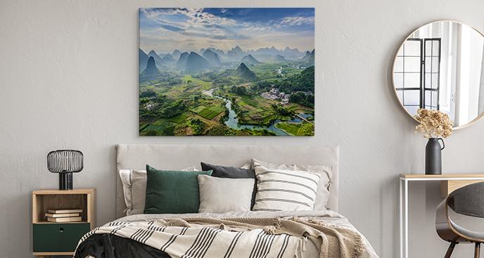Obraz kontynenty i góry