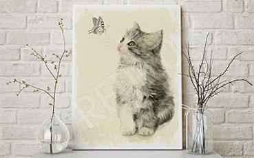 Obraz kot i motyl