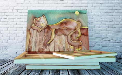 Obraz kot na płocie
