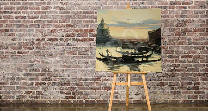 Obraz krajobraz z gondolami