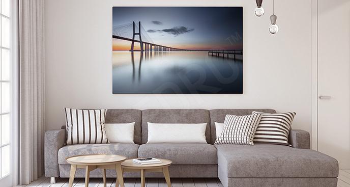 Obraz krajobrazem z mostem