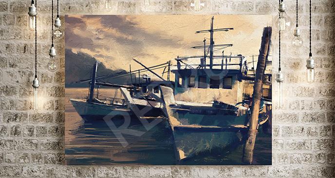 Obraz kutry rybackie