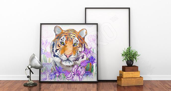Obraz kwiaty i tygrys