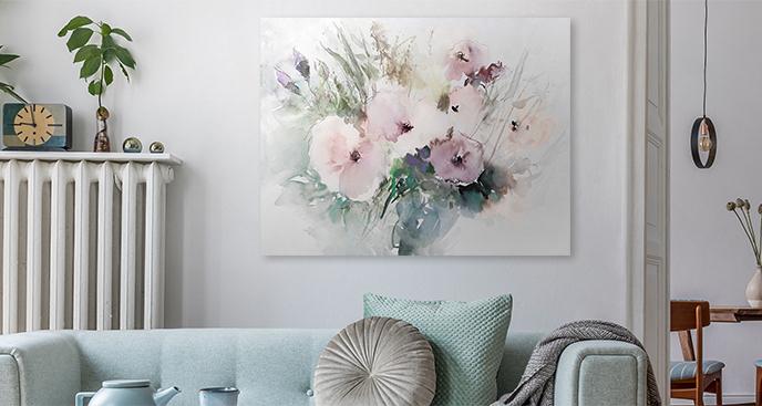 Różowy obraz z kwiatami