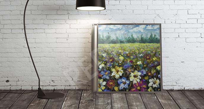 Obraz łąka z kwiatami